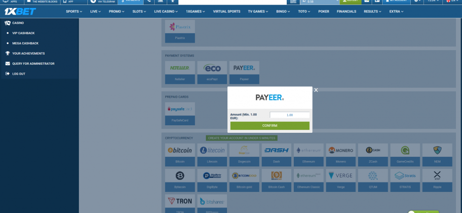 1xbet paymentsystems